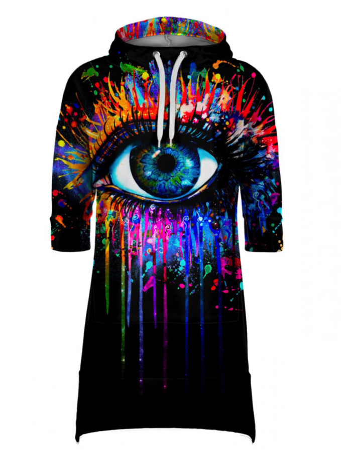 Mr Gugu Black Fullprint Hoodie Dress